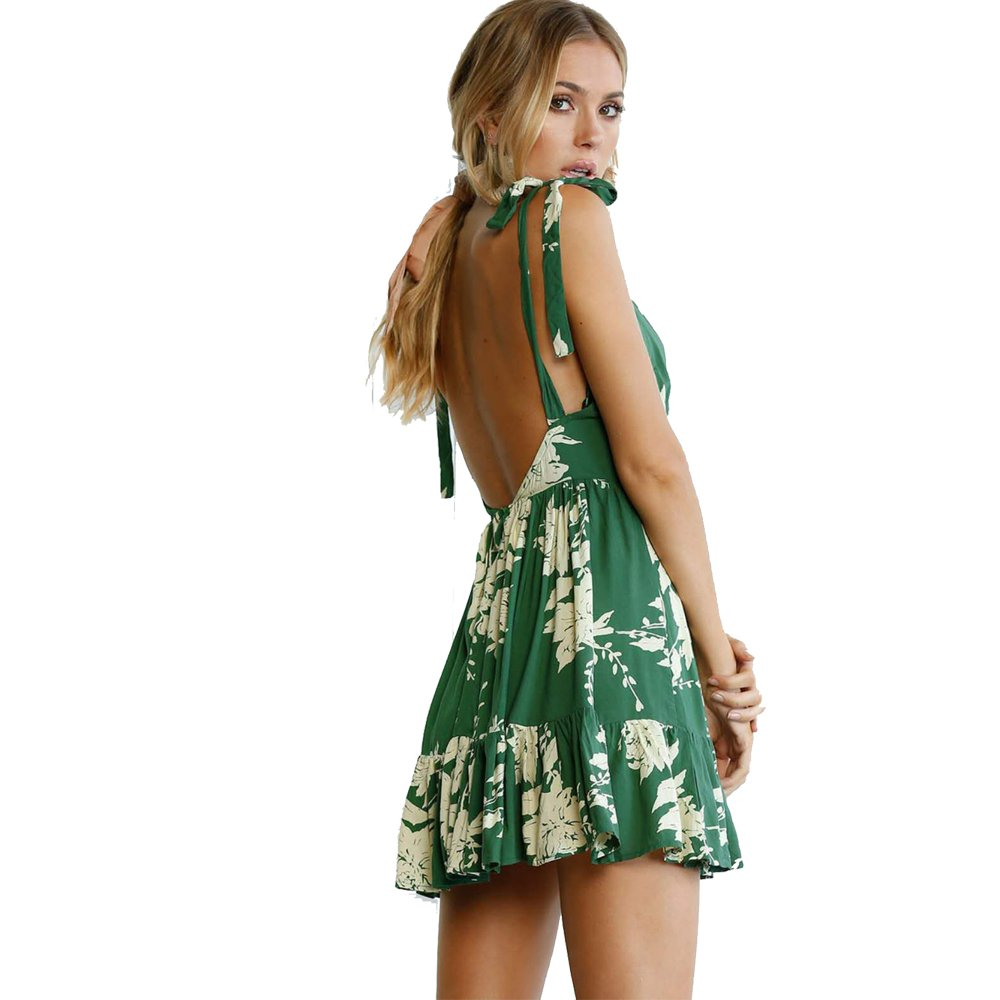 a7ba616d963 ilovgirl Summer Dresses with deep v Neck Floral Print Green Sexy Backless  Ruffles Mini Bohemian Casual Dresses for Women at Amazon Women s Clothing  store