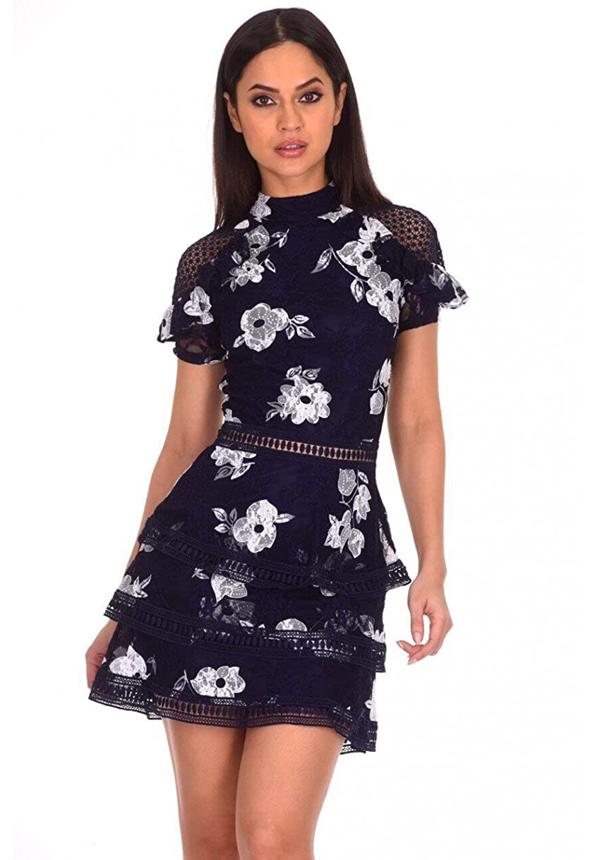 95f5091ad47 This high neck navy lace dress is a must have this season. Fabric  Composition  100% Polyester Length  86 cm