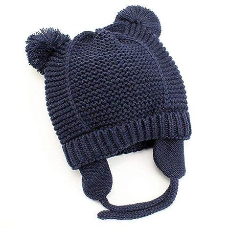 Gorro de Bebé Invierno, laamei Sombrero de Punto Algodón con Orejeras Pelota Gorras Bebé Gorrito