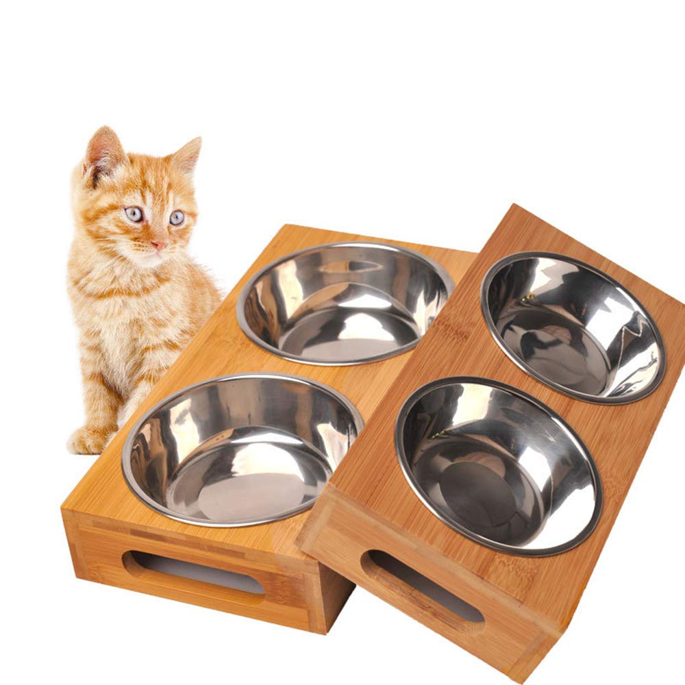 Large Dog Pet Feeder, Double Bowl Raised Stand Comes with Extra Two Stainless Steel Bowls. Perfect for Large Dogs and cat