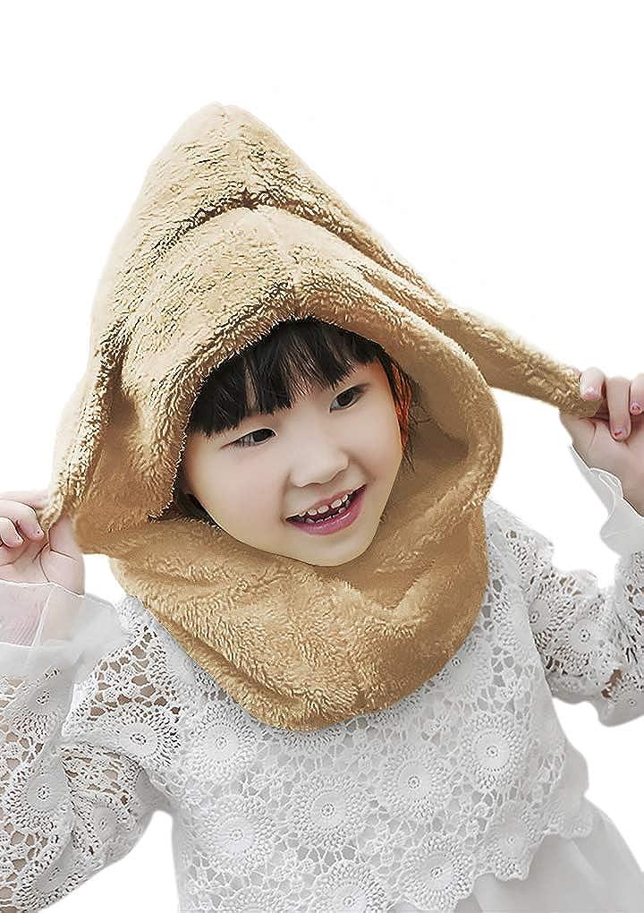 Greenery-GRE Infant Kids 3 in 1 Warm Winter Hats Thick Fleece Earflap Hood Cap Scarves with Ears for Baby Girls Boys 0-12 M