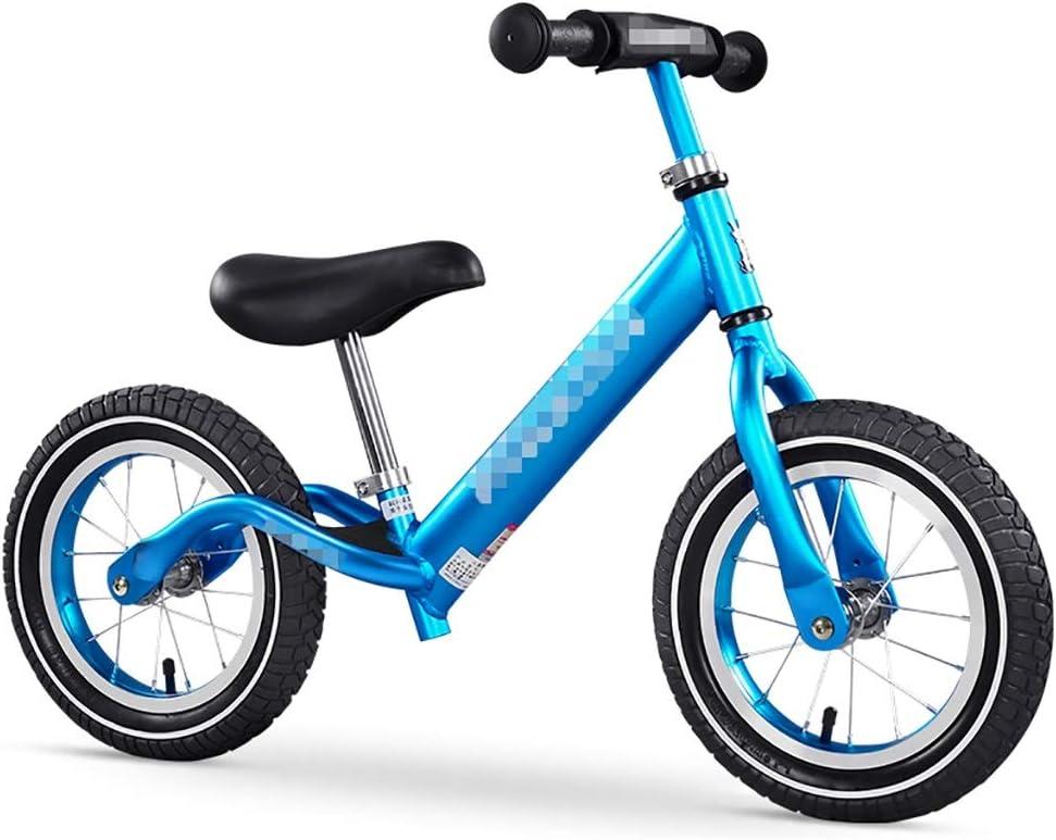 WENJUN Bicicleta Sin Pedales, Bicicleta Sport Balance para 2-8 Años, Entrenamiento De Ciclismo De Asiento De Manillar Ajustable para Niños Pequeños, Bicicleta para Caminar, Rojo, Azul, Plata, 56-69cm