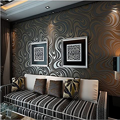 10M Modern Luxury Abstract Curve 3d Wallpaper Roll Mural Paper Parede Flocking for Striped Black&brown Color (Wallpaper Luxury)