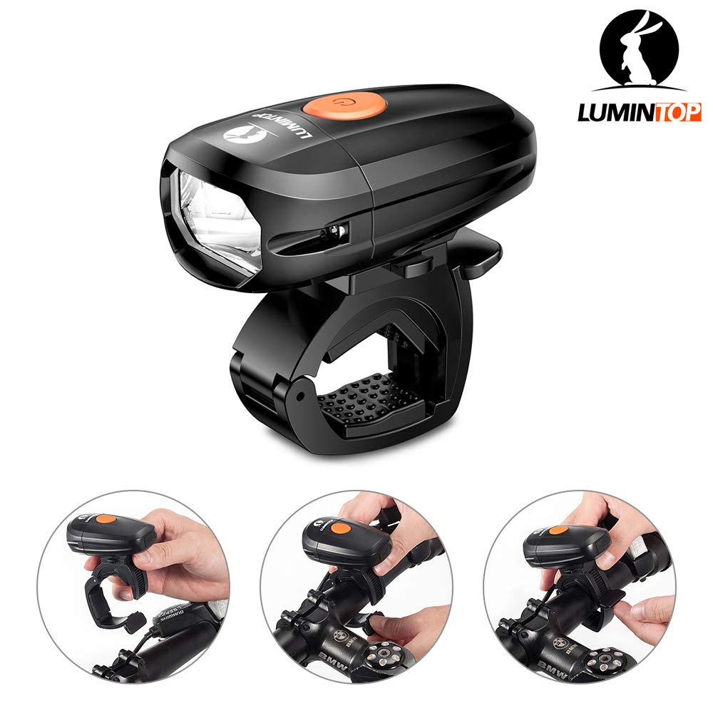 LUMINTOP C01 USB Rechargeable Bicycle Front Light, IP68 Waterproof, Bike Headlight with Super Bright Cree Neutral LED, Road Cycling Safety Flashlight, Easy Install Quick Release 2 Years Warranty