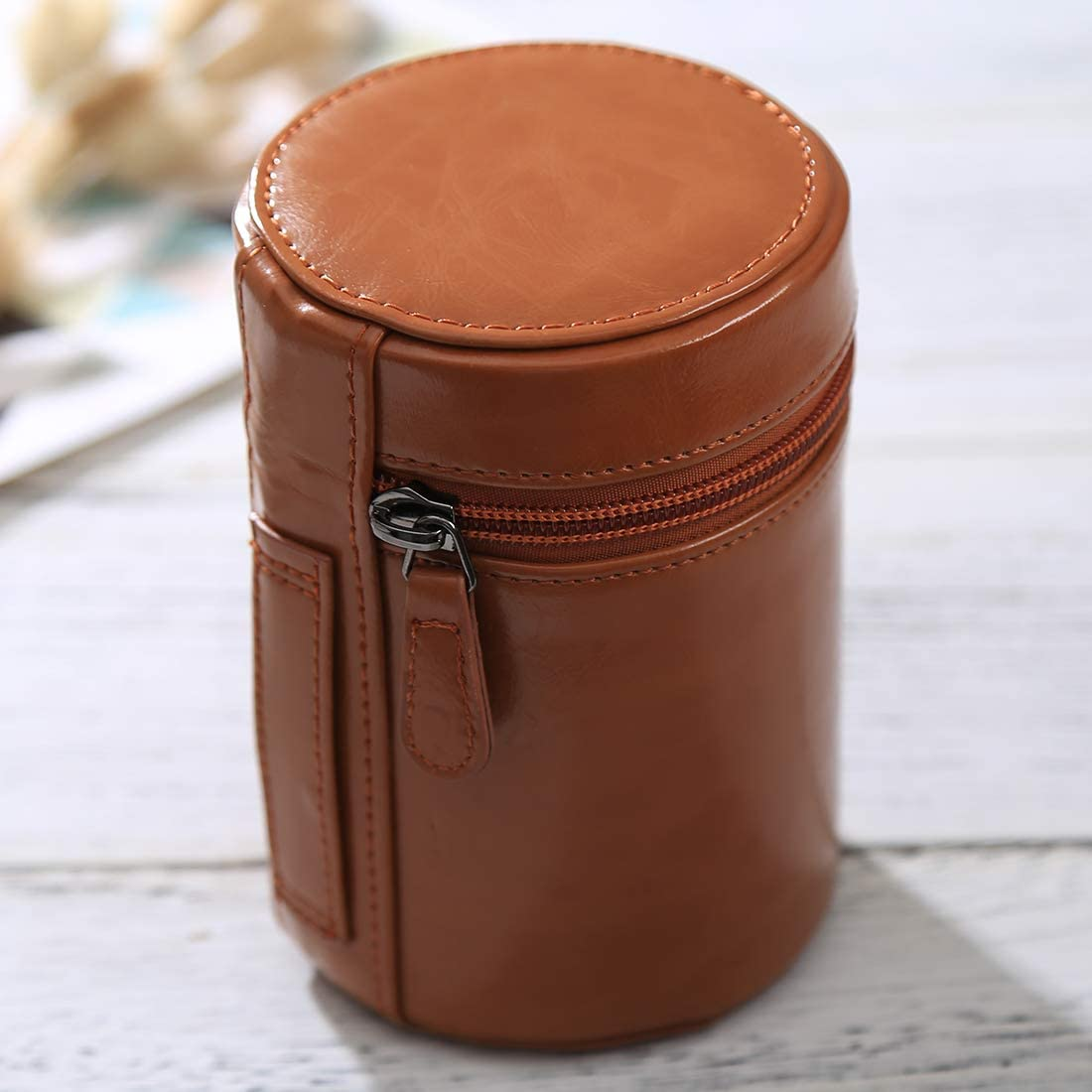 Size Color : Coffee Medium Lens Case Zippered PU Leather Pouch Box for DSLR Camera Lens 13x9x9cm Reliable