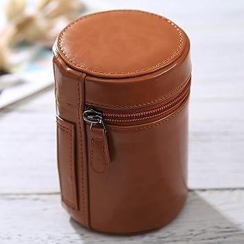 Size: 13x9x9cm Color : Brown Black JINYANG JINYANG Bag Medium Lens Case Zippered PU Leather Pouch Box for DSLR Camera Lens
