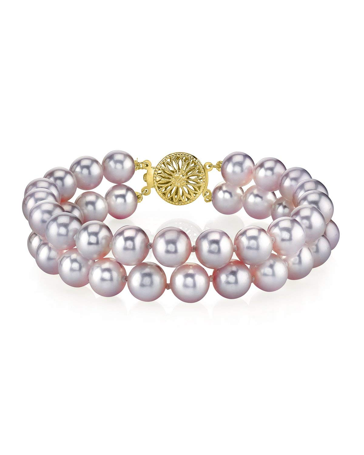 THE PEARL SOURCE 14K Gold 7-8mm AAA Quality Round Pink Freshwater Cultured Pearl Double Strand Bracelet for Women by The Pearl Source