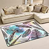 LORVIES Hand Drawn Feathers Pattern Area Rug Carpet Non-Slip Floor Mat Doormats for Living Room Bedroom 72 x 48 inches Review
