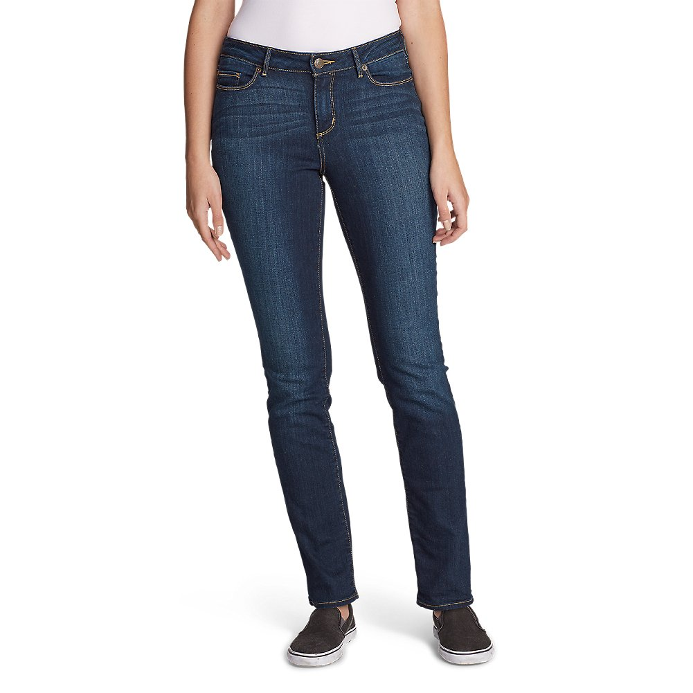 Eddie Bauer Women's StayShape Straight Leg Jeans - Curvy, Dusk Petite 14