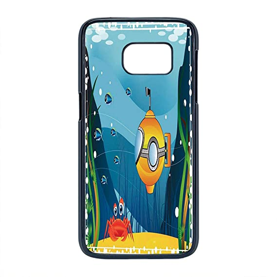 Cell Phone Case Compatible Samsung Galaxy S7,Yellow Submarine Decor - Hard Plastic Phone Case