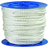 Ship Now Supply SNTWR126 Twisted Nylon Rope, 1/2'', 5, 670 lb, 600', 0.5'' width, White