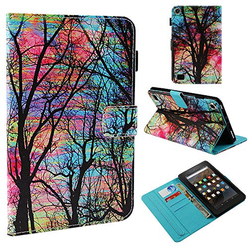 Leather Smart Case Cover with Auto Wake/Sleep for Amazon Fire 7 Tablet (Fire 7 2015 and 2017 release, 5th / 7 th generation ) ()
