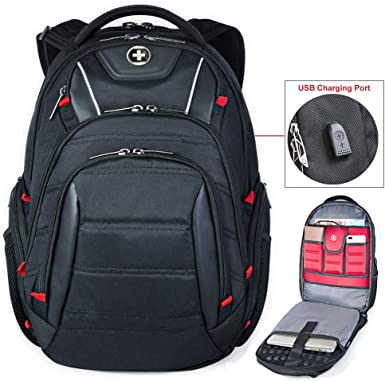 Swissdigital Business Travel Laptop Backpack Bag with Smart USB Charging Port
