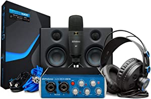 PreSonus AudioBox Studio Ultimate Bundle Complete Hardware/Software Recording Kit with Studio Monitors,Blue