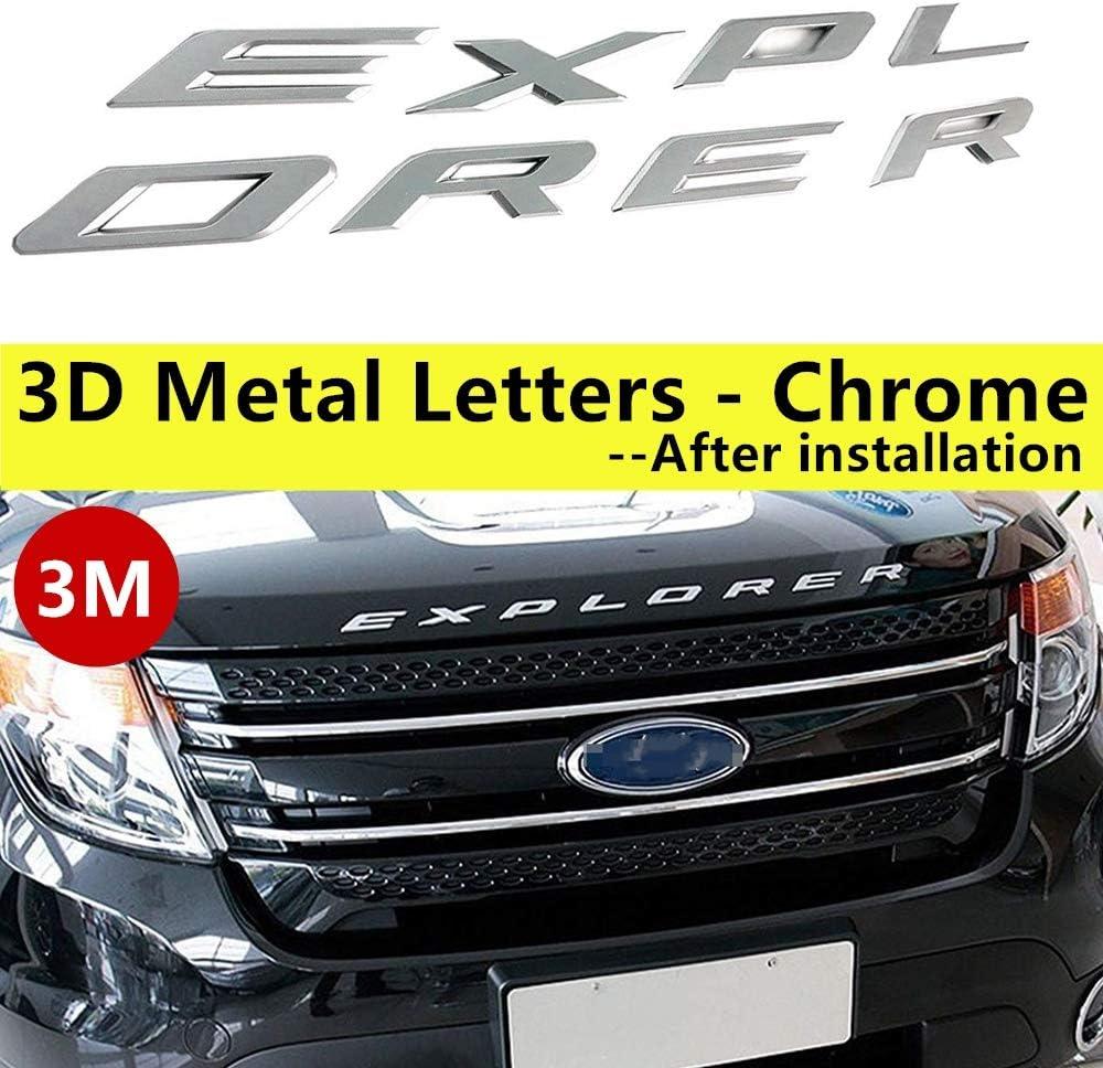 Fit for Ford Explorer Sport Chrome Black Front Hood Emblem Letters Badge Deca(Chrome) 2011-2017 3D Metal not Plastic
