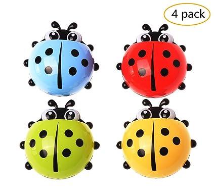 Bellagione Ladybug - Juego de 4 soportes para cepillo de dientes, diseño de dibujos animados