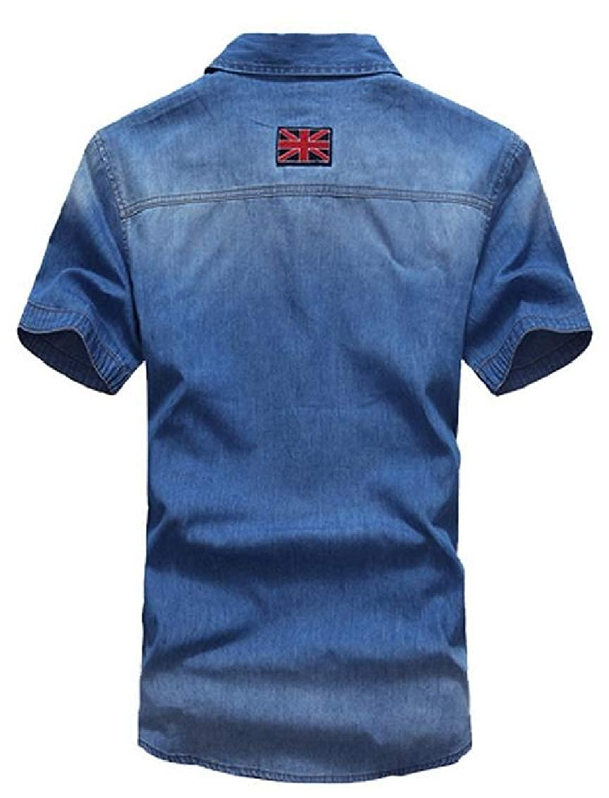 Hajotrawa Mens Denim Button Down Print American Flag Summer Short Sleeve Shirt