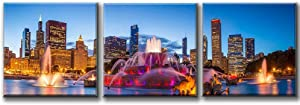 City Wall Art - Large Canvas Print - Chicago Wall Art Canvas Print - Chicago City Skyline Art Canvas Print - - 20x20 Inch Each Panel- 60x20 Inch Total