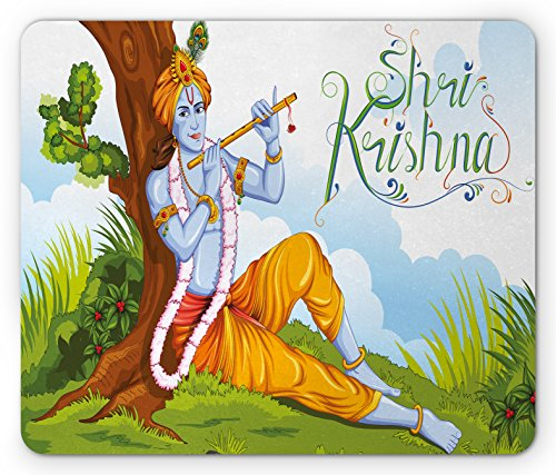 Tree Flute (Ethnic Mouse Pad by Ambesonne, Ethnic Mythology Playing Flute in Forest Tree Jungle Legendary Colorful Happy Print, Standard Size Rectangle Non-Slip Rubber Mousepad, Multicolor)