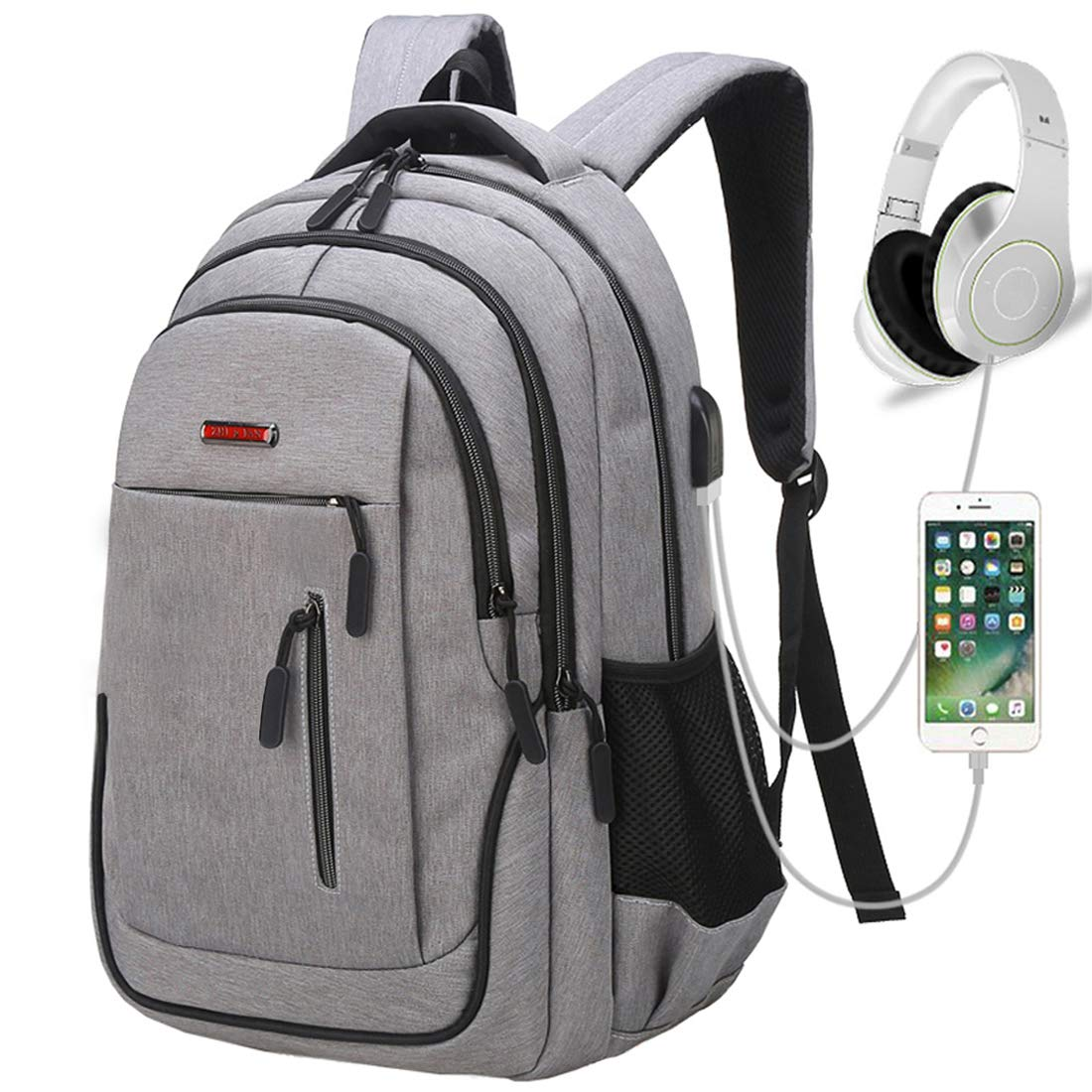 Travel Laptop Backpack, Business Laptop Backpacks USB Charging Port Headphone Interface,Water Resistant College School Computer Bag Women & Men Fits 15.6 inch Laptop Notebook(Gray) by MEWAY (Image #1)