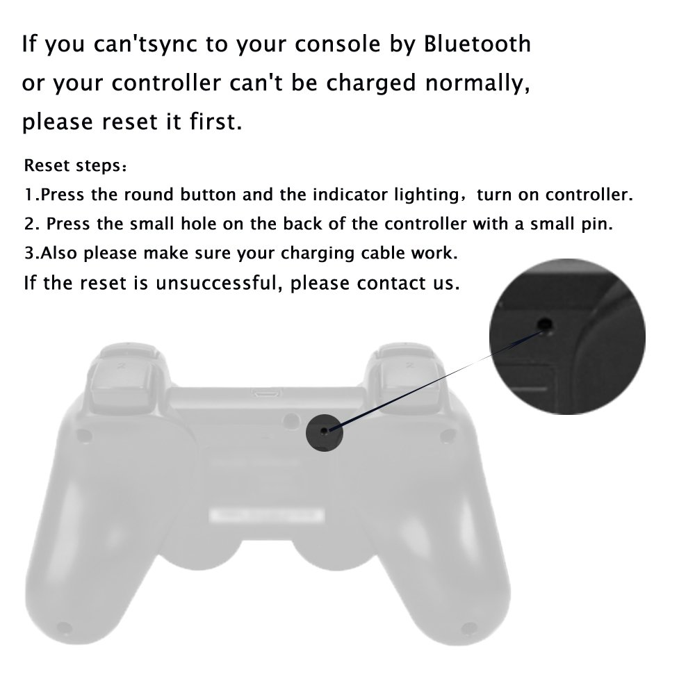 Kolopc 2 Packs Wireless Bluetooth Controllers For PS3 Double Shock - Bundled with USB charge cord (Clear Red and Clear Blue)