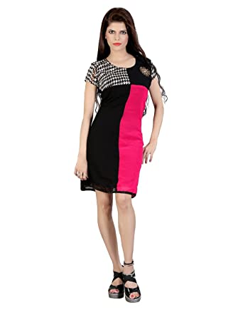 d492f523a6 FashionVerb 2016 look summer collection Magenta Black color Georgette  material Formal wear U Neck Half Sleeve Long One piece western dress for  women: ...