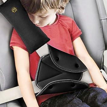 Kids Safety Seatbelt  Head Neck Support with Car Seat Belt Adjuster Pads Black