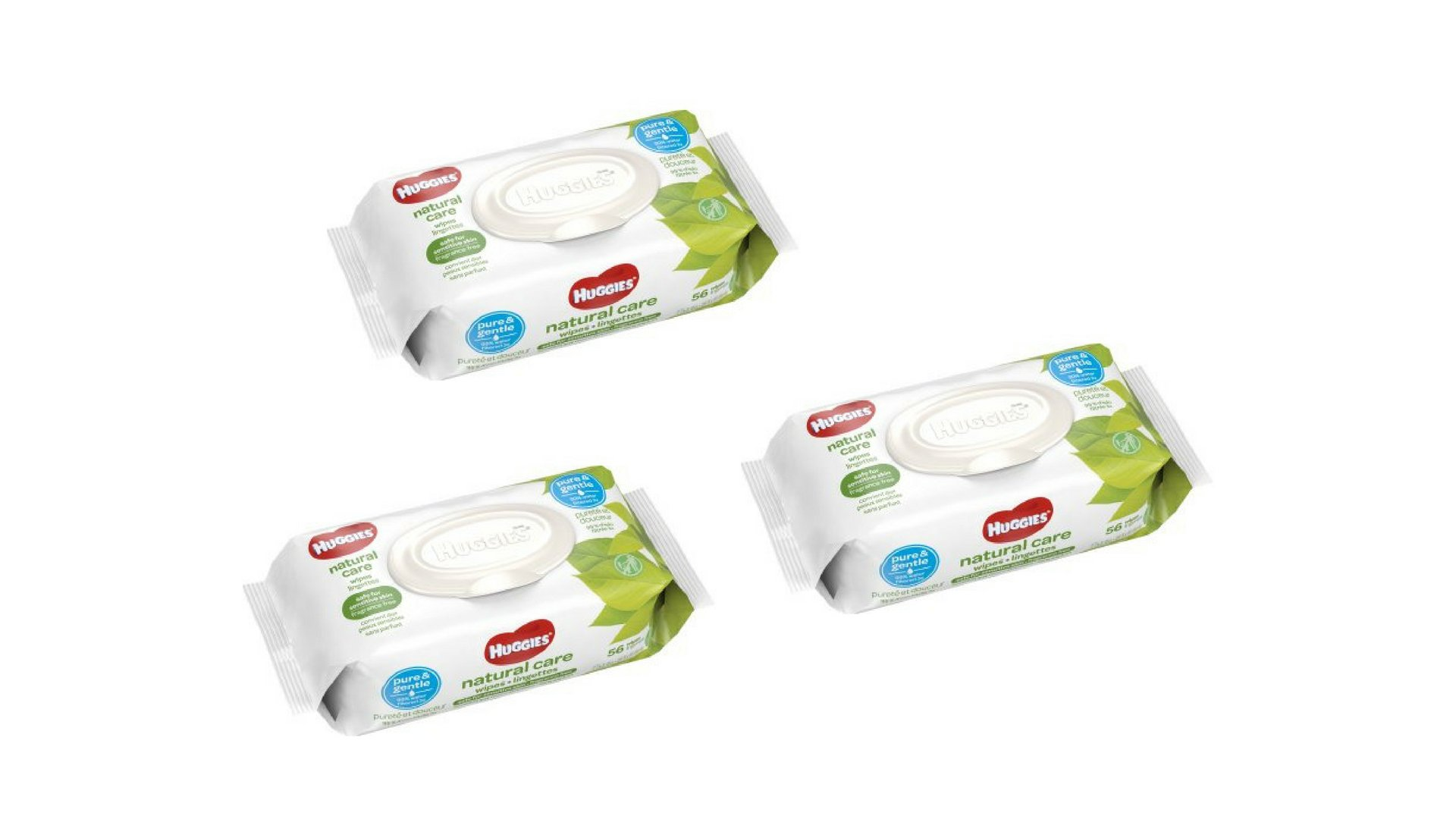 Natural Care Baby Wipes, Unscented (56 count) Per Pack, Pack of 3, (168 CT)