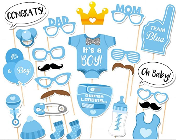 CHSYOO 25x Its a Boy Azul Chico Photo Props Photo Booth Props Photobooth Decoración para Baby Shower Baby Shower Bautismo Baby Birthday Babyshower ...