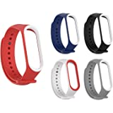 Rapidotzz Pack of 5 Straps/Belts/Bands Compatible for Xiaomi MI Band 3 Band 4 Mi3 MI4