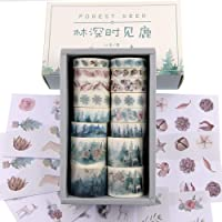 Watercolor Forest Deer Washi Masking Tape Bulk/Winter Nature Washi Tape Set for Traveler Notebook, Journal, Scrapbook…