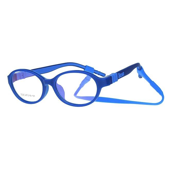 0fe51f39f9 Amazon.com  Child Size Unisex Oval Round Crush Proof Plastic Clip Arm Optical  Frame Eye Glasses All Blue  Clothing
