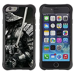 Hybrid Anti-Shock Defend Case for Apple iPhone 6 4.7 Inch / Samurai Warrior