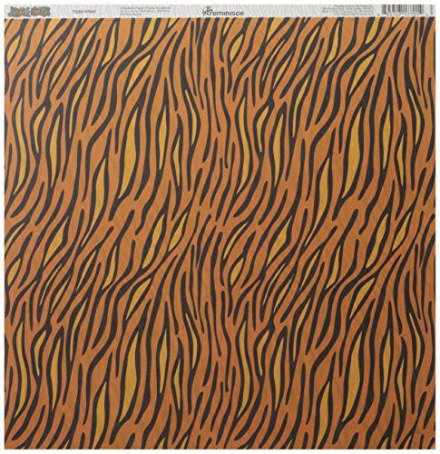 - Reminisce Jungle-icious 12 by 12-Inch Double Sided Scrapbook Paper, Tiger Print
