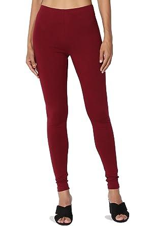 03012b7ad9e6e0 TheMogan Women s Cotton Jersey High Waist Full Length Ankle Leggings  Burgundy S