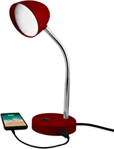 MaxLite LED Desk Lamp with USB Charging Port, Burgundy Desk Lamp, Adjustable Neck, On/Off Switch, Modern Table Lamp for Reading, Work or School, Warm Gentle Light