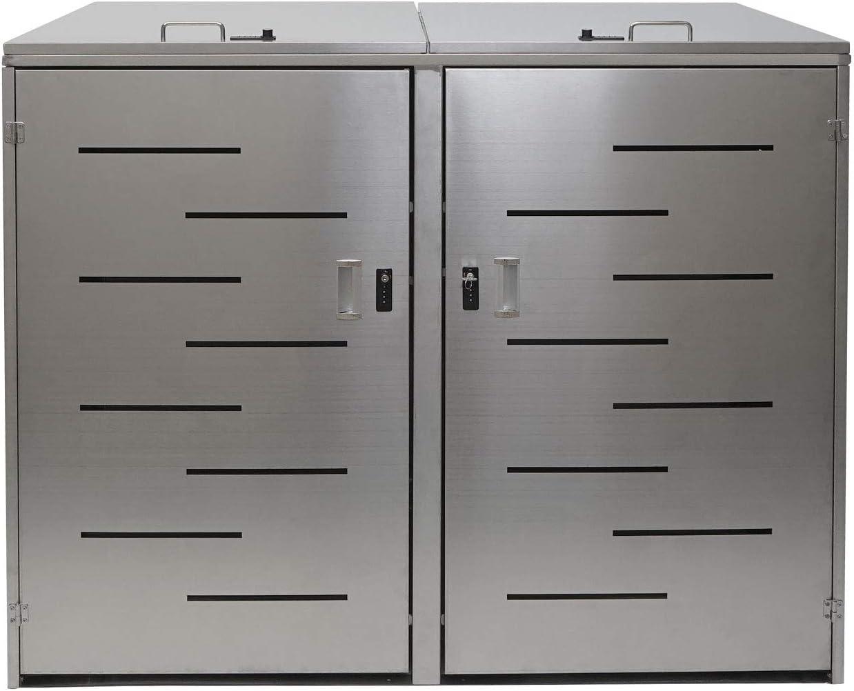 Mendler 3er-M/ülltonnenverkleidung HWC-E83 erweiterbar 108x61x76cm ~ Edelstahl M/ülltonnenbox M/ülltonnenabdeckung