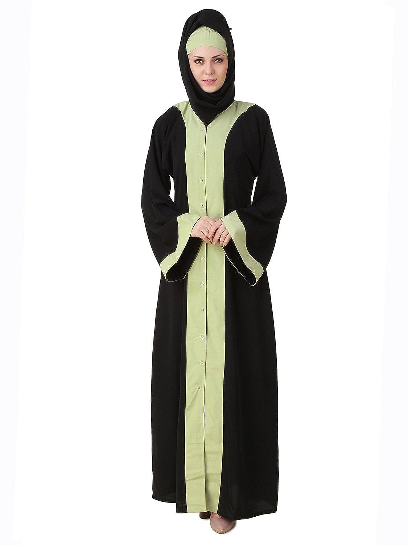 MyBatua Sheila Schwarz Nida Dubai lange Maxi Abaya Kleid AI-472