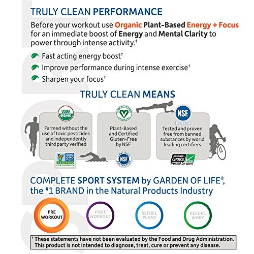 Garden of Life Sport Organic Pre Workout Energy Plus Focus Vegan Energy Powder