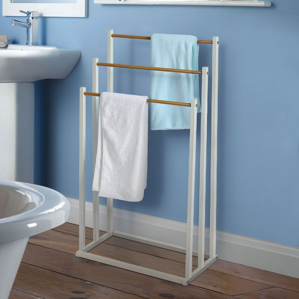 HOME BI Free Standing Towel Drying Rack, 3 Tier Metal Towel Bathroom Shelf, Rust-Resistant, Easy to Assemble
