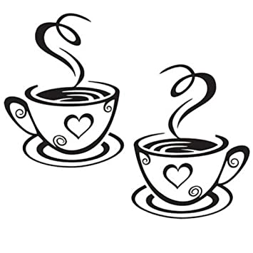 iTemer Wandaufkleber für Café Esszimmer Restaurant Kaffee Wandsticker  Kaffeetasse Wandtattoo Wandaufkleber Süße Tasse Küche Kaffee Wanddeko 1Pcs