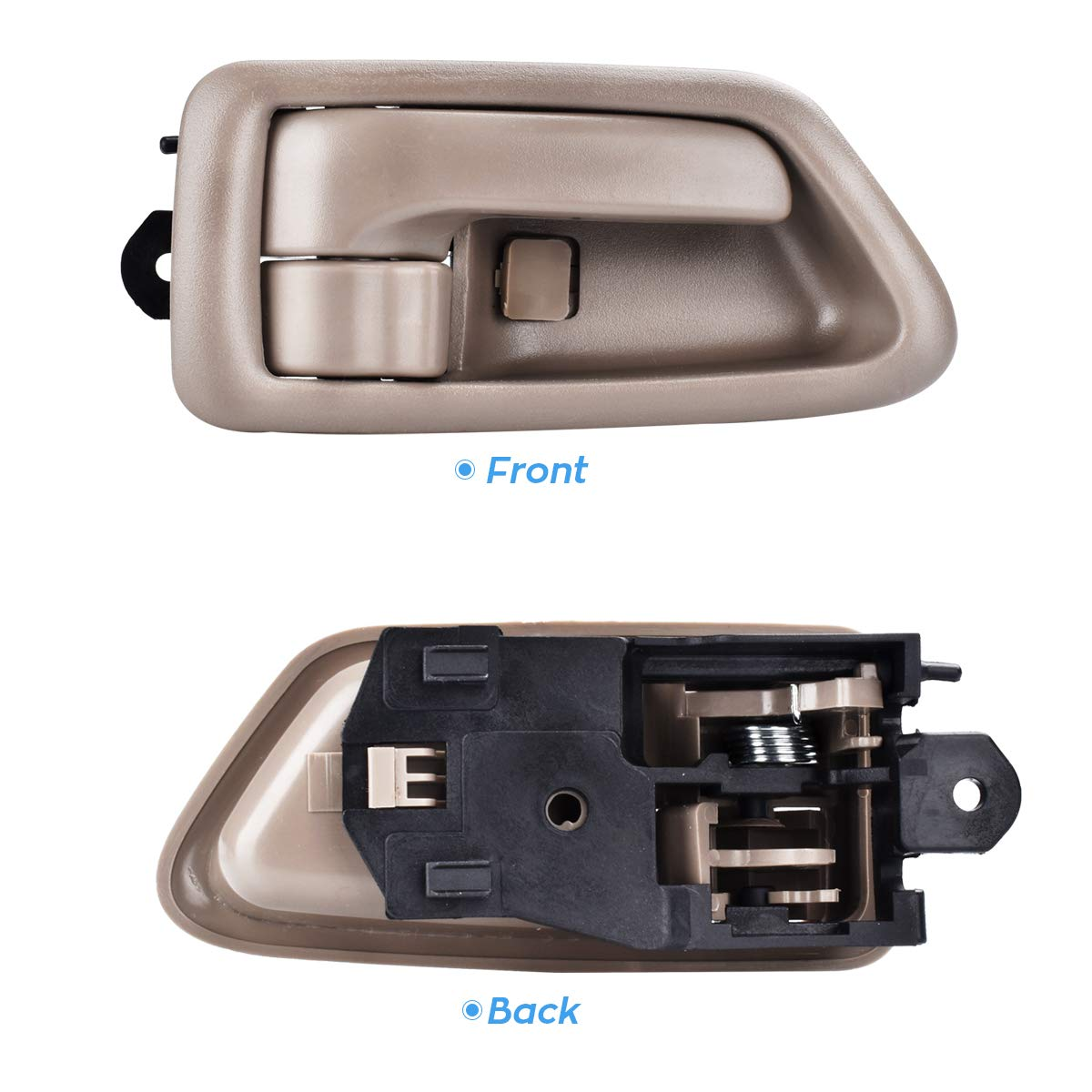 FAERSI 2Pcs Inside Interior Door Handle Front Rear Driver /& Passenger Side for 1997 1998 1999 2000 2001 Toyota Camry Beige//Tan