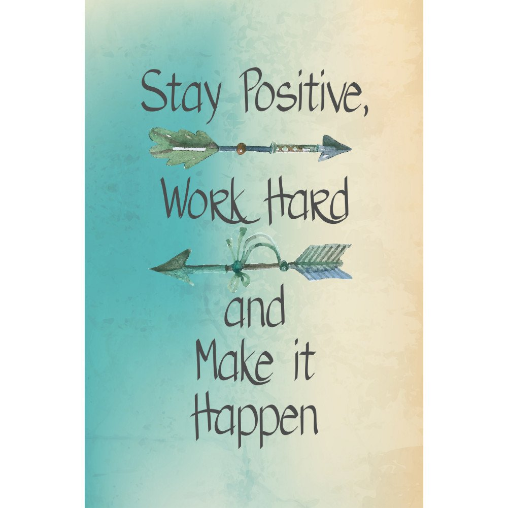 iCandy Combat Stay Positive Work Hard and Make It Happen Motivational Sign Inspirational Quote 2 Pack Signs