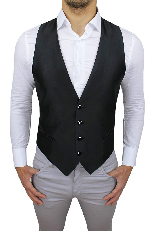 Alessandro Gilles Panciotto Gilet uomo sartoriale nero lucido corpetto smanicato elegante 100/% Made in Italy