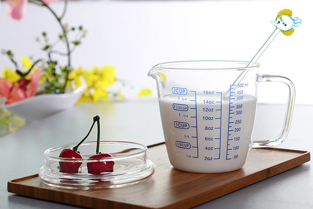 ERYDGHFDGDFGE3DD 16OZ Bestevers Kitchen Laboratory 16 Oz Glass Beaker Measuring Cup With Lid 2-Cup