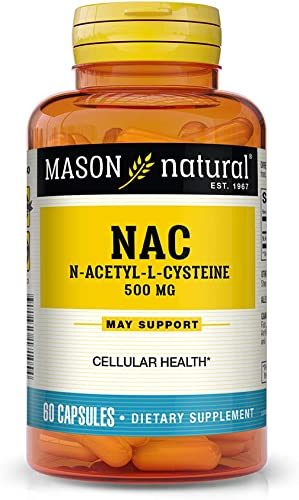 Mason Natural, NAC Amino Acid Capsules, 60 Count, Dietary Supplement Supports and Protects Cellular and Immune Functions, Supports Overall Health and Wellness