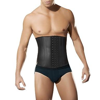 374b6ffe502 LETSQK Men s Tummy Control Steel Boned Waist Cincher Corset Trainer Sport  Shapewear S