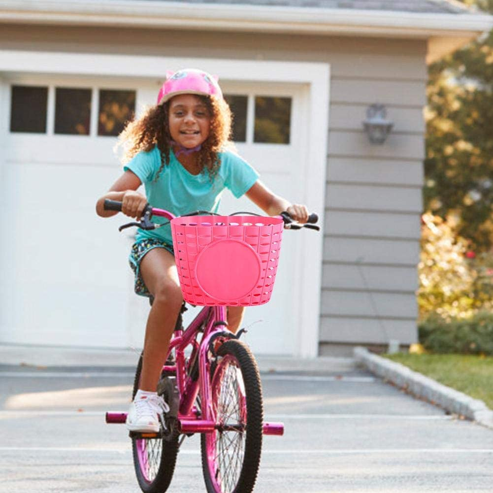 Yunhigh-uk Kinder Fahrradkorb Schwarz Pink Kinder Fahrradkorb Kunststoff Aufbewahrungsbeh/älter f/ür Boy Girl Scooter