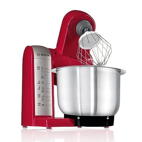 Bosch MUM48R1 Robot de Cocina 600 W, 3.9 L, Metal y Plástico, 4 Velocidades, Rojo