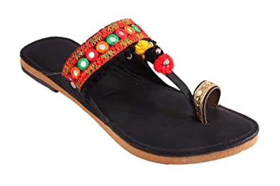 0a61c7a3a2a Great Art Women Girl's Party Office Ethnic Black Kolhapuri Chappal Sandals
